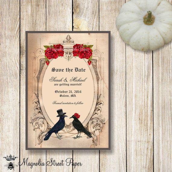 Goth Save the Date Invitation Halloween Wedding Halloween Save – Halloween Wedding Save the Dates