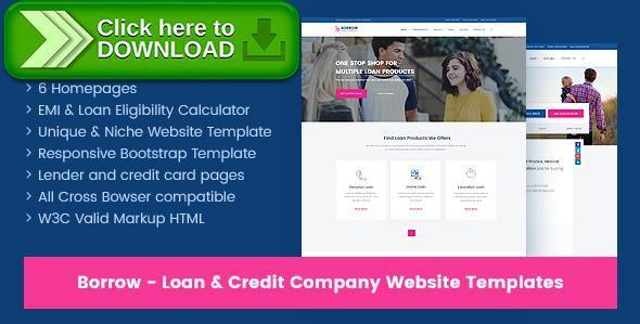 Free nulled Borrow - Loan Company Responsive Website Templates - loan templates
