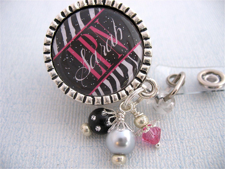 Personalized Zebra Print ID Badge Reel RN  Np by MyBlueSnowflake, $17.00