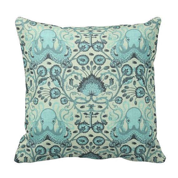 BOGO Octopus Garden   Coral Blue   Nautical Boho Sea   14x14 16x16 18x18    Decorative