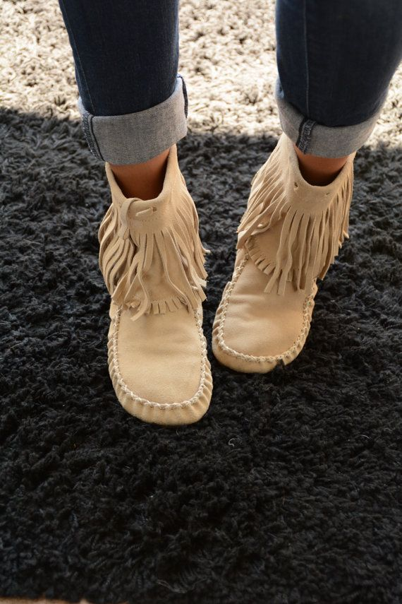 9a54443acbc3 Tan Fringe Moccasins by WestEndFox on Etsy