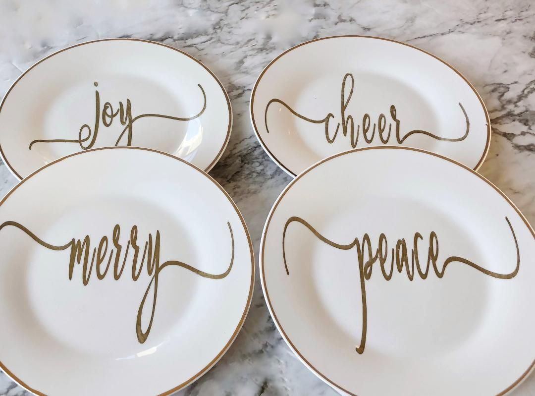 Set Of 4 White And Gold Christmas Plates Merry Joy Peace Cheers Christmas Plates Gold Christmas Unique Items Products