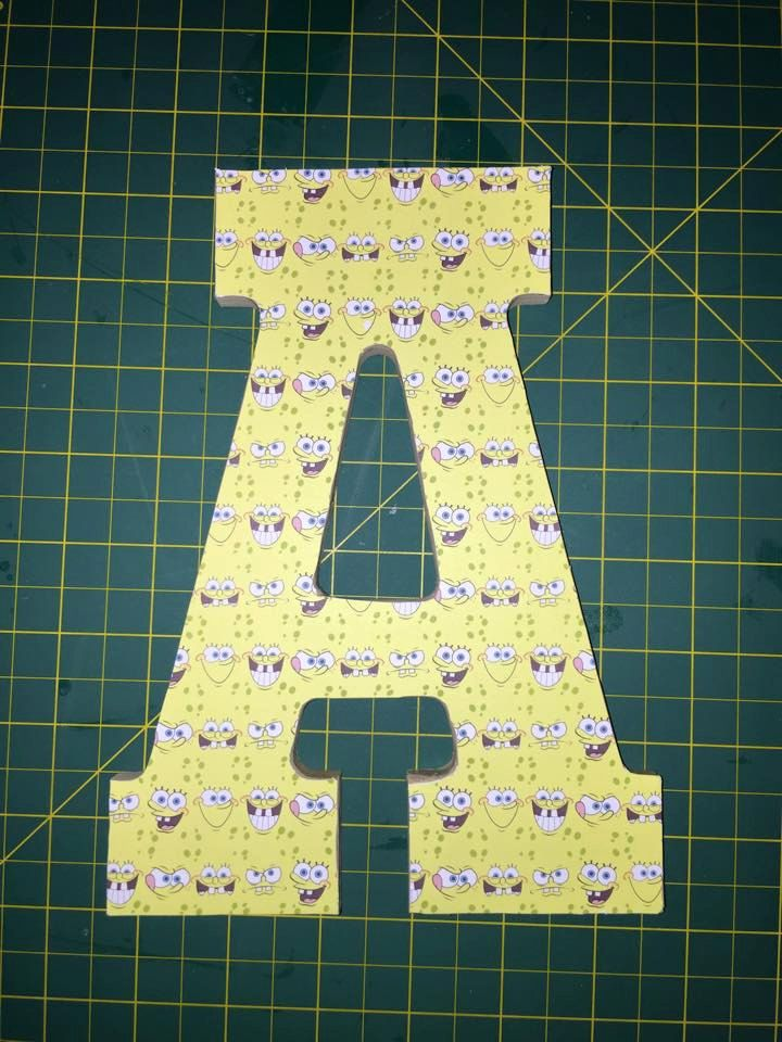 SpongeBob Wooden letter decor, kids spongebob monogram letters ...