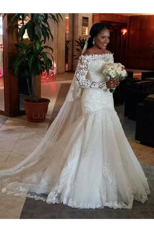 Long Sleeves Off-the-Shoulder Mermaid Wedding Dresses Bridal Gowns ...