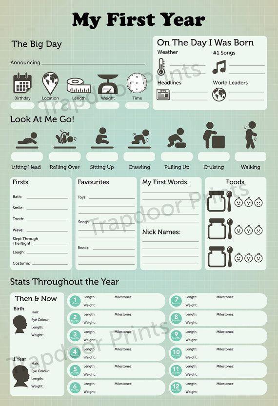 Ähnliche Artikel wie Mein erstes Jahr Baby Infographik digitale Datei. Für Meilensteine der Babys erstes Jahr. Kinderzimmer Dekor, Baby-Buch auf Etsy #dolistsorbooks