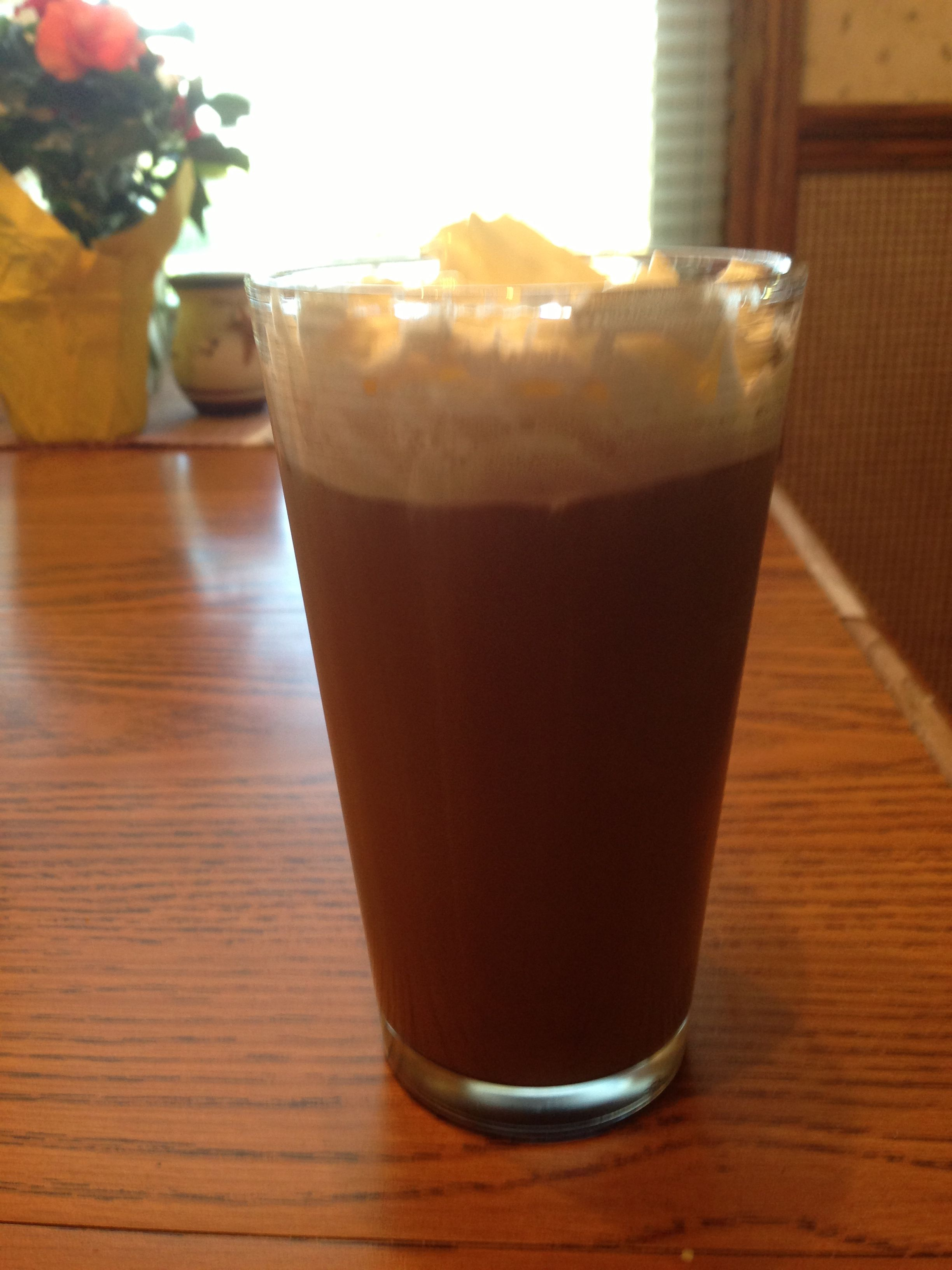 Frappe made in a blender with coffee, chocolate syrup