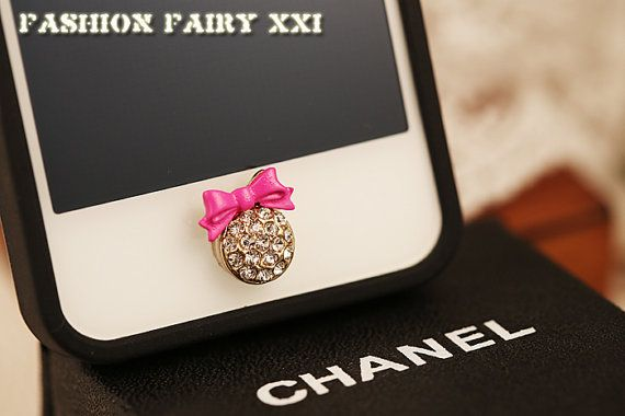 rose pink bow knot crystal home button sticker by fashionfairyxxi rh pinterest com