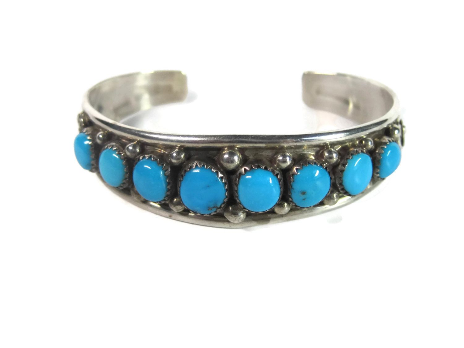 Vintage Navajo 8 Stone Turquoise Cuff Bracelet Sterling Early Abraham Begay - pinned by pin4etsy.com