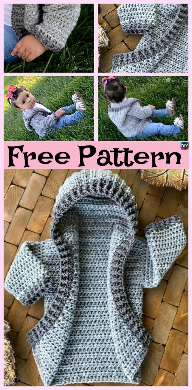 Crochet Baby Hoodie - Free Pattern | Ponchos o Ruanas | Pinterest ...
