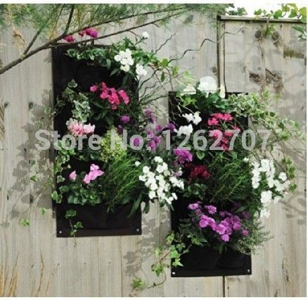 5pieces 4 Pocket Hanging Vertical Garden Wall Planter For Herbs