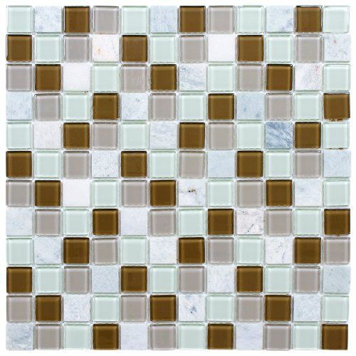 Chroma Square Manzanilla 11 1 2 X 11 1 2 Inch Glass And Stone Mosaic Wall Tile 10 Pcs 9 2 Sq Ft Per Case Stone Mosaic Wall Mosaic Wall Tiles Wall Tiles