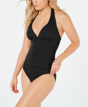 New Ralph Lauren Black Ruched Tummy Control One-Piece Plus Swimsuit Size 16W