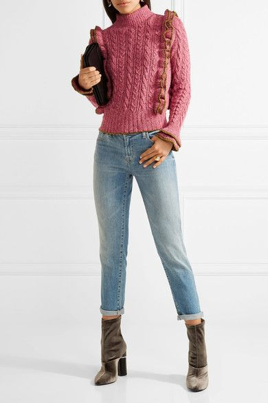 e0daa93593df Philosophy di Lorenzo Serafini - Ruffled Cable-knit Wool-blend Sweater -  Bubblegum