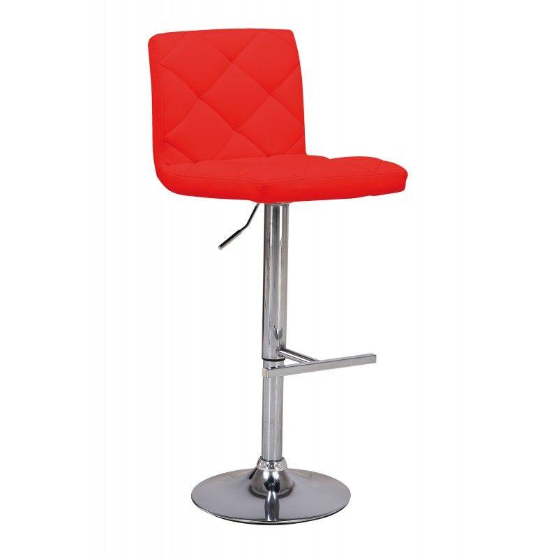 Tabouret De Bar Contemporain En Simili Cuir Coloris Rouge Office Chair Decor Chair