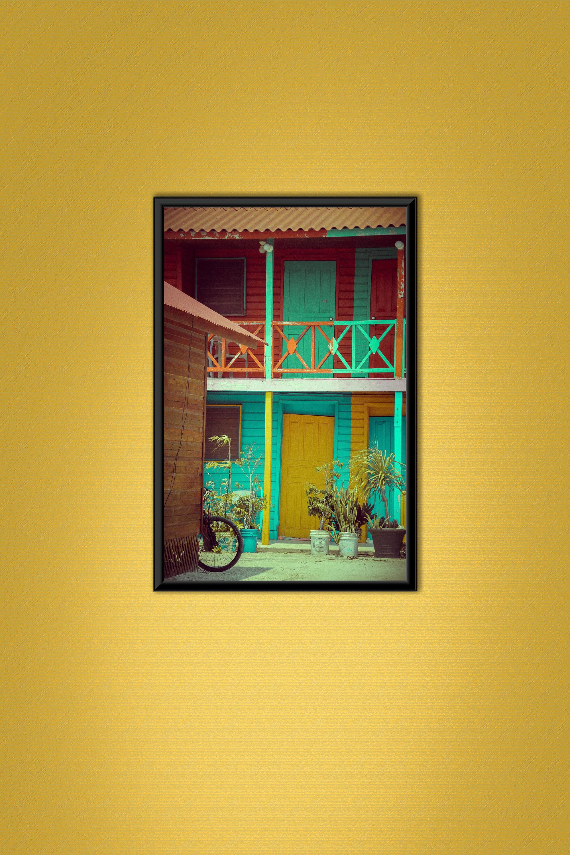 Mexico photograph,yellow door,exotic photo,colorful wall art,plants ...