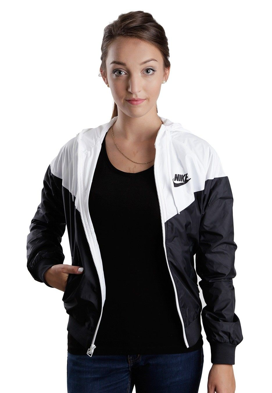 Nike epic jacket - Nike The Windrunner Black White Black Girl Jacket Official Streetwear Online