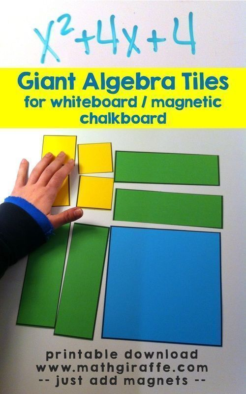 Giant Algebra Tiles for the Whiteboard (Math Giraffe - The Math Classroom Blog) - - -