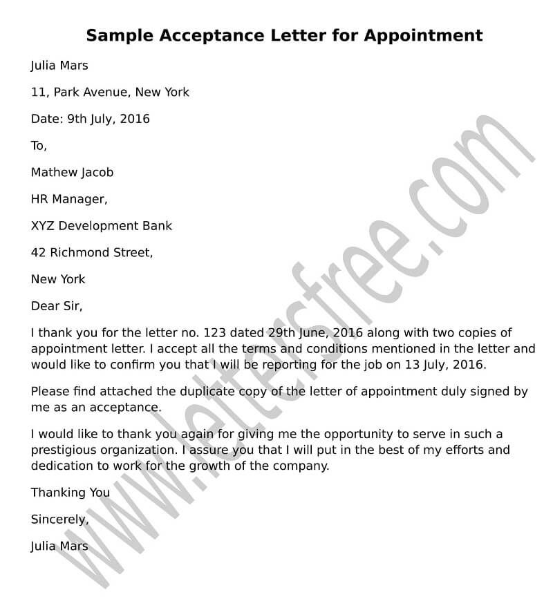 Write A Formal Acceptance Letter For Appointment To Your New