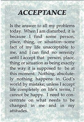 Alcoholics Anonymous Pg. 417 - Acceptance - Wallet Card | RecoveryShop