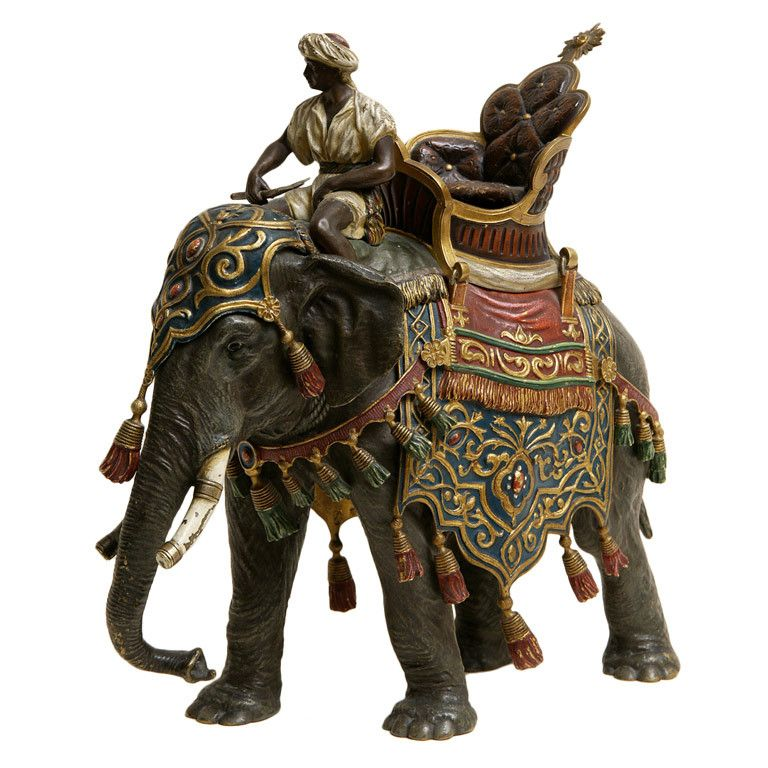 xx..tracy porter..poetic wanderlust...-Large cold painted  Vienna bronze Elephant and Rider by Bergmann