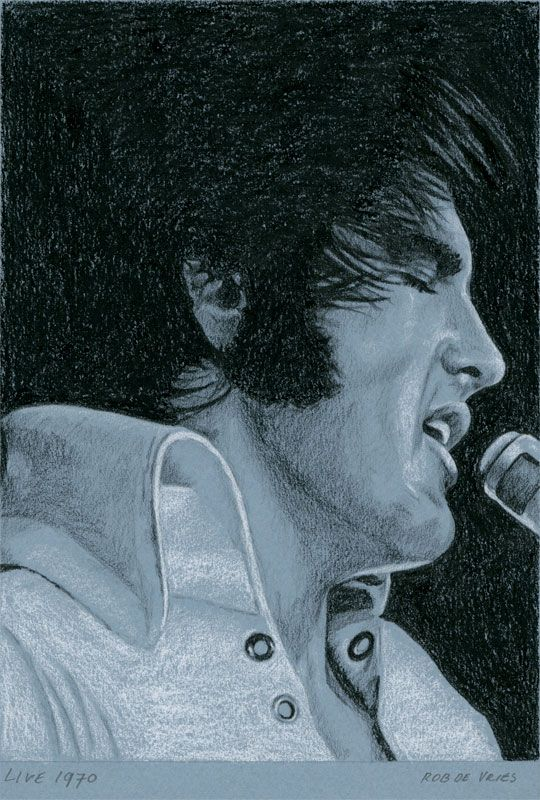 Weekly Elvis drawing for week 41. Live 1970, 2013 Charcoal
