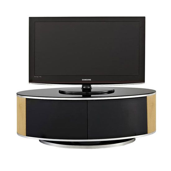 Powell Tv Stand In Black Glass Top With Oak And Black Gloss Things