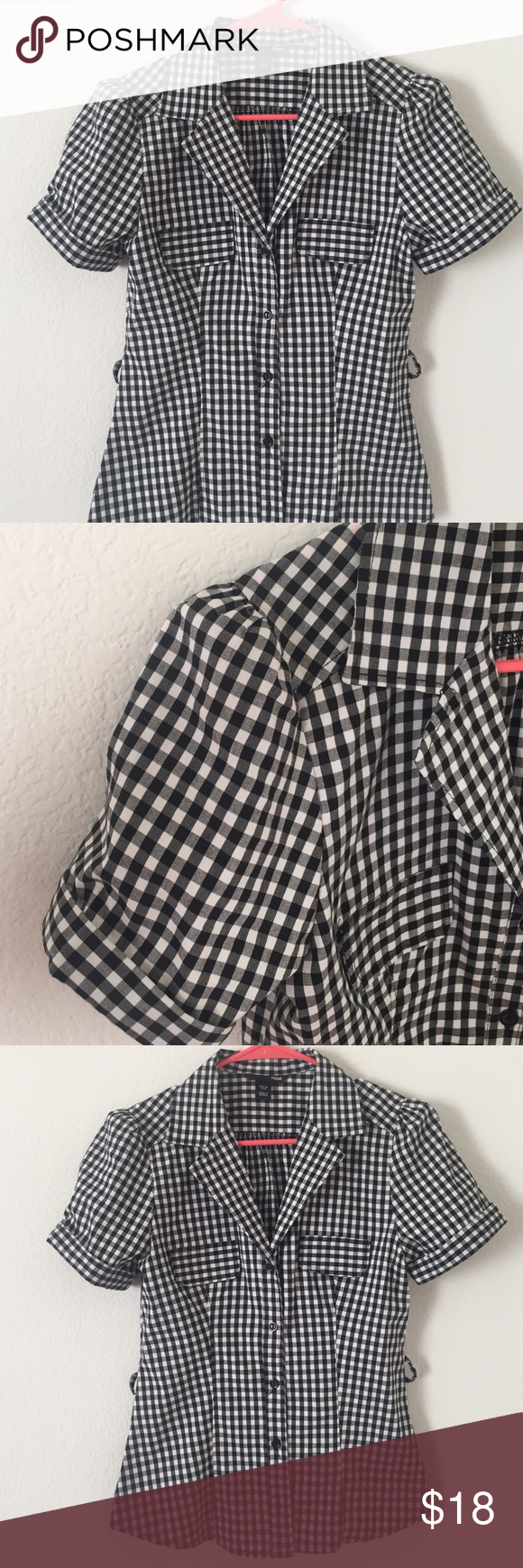 GINGHAM PUFF SLEEVES SHIRT TOP - Pinup Rockabilly New without tags: black/white Gingham button down shirt with puff sleeves. H&M Tops Button Down Shirts