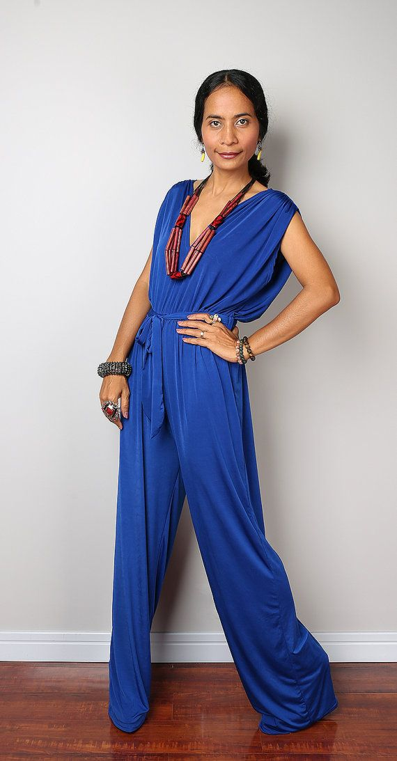 Blue Dressy Plus Jumpsuit: Royal Blue Sleeveless Jumper Dress