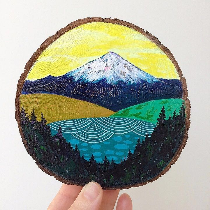 Fun Illustrations on Reclaimed Wood Celebrate the Enchanting Beauty of the Pacific Northwest is part of Wood slice art, Painting on wood, Beautiful paintings, Wood art, Painting, Oil painting landscape - Cathy McMurray's handmade wooden print pieces offer a charming, rustic take on the great outdoors  The Portland native dabbles in a variety of