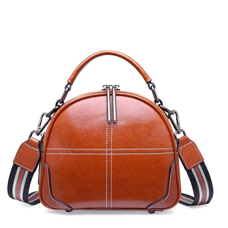 d5f4829321ec Tan Double Zipper Cube Genuine Leather Handbags Vintage Side Bags in ...