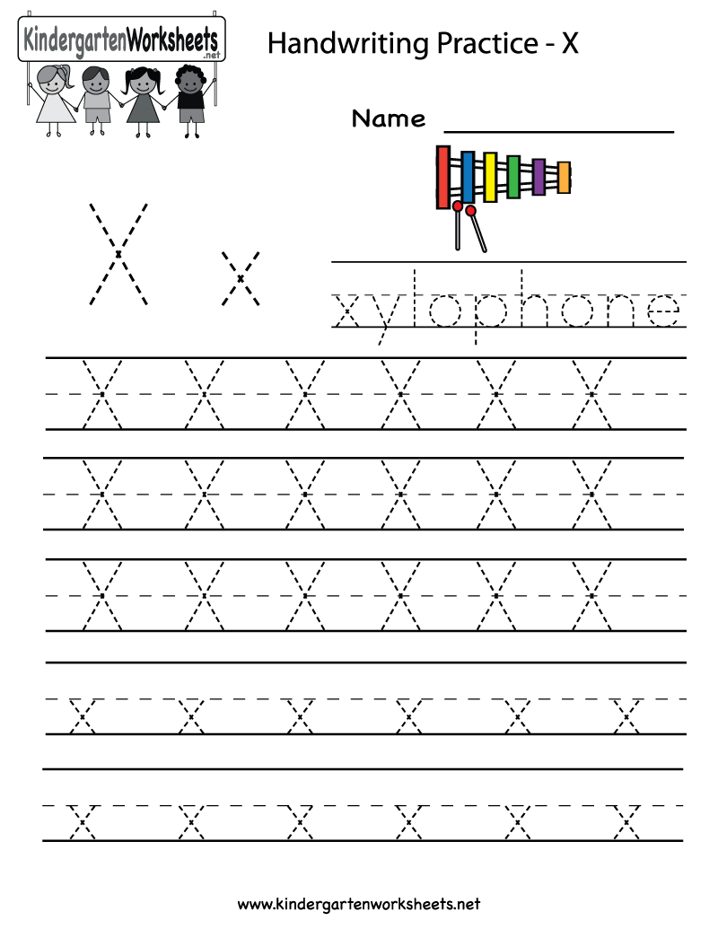 Kindergarten Letter X Writing Practice Worksheet Printable ...