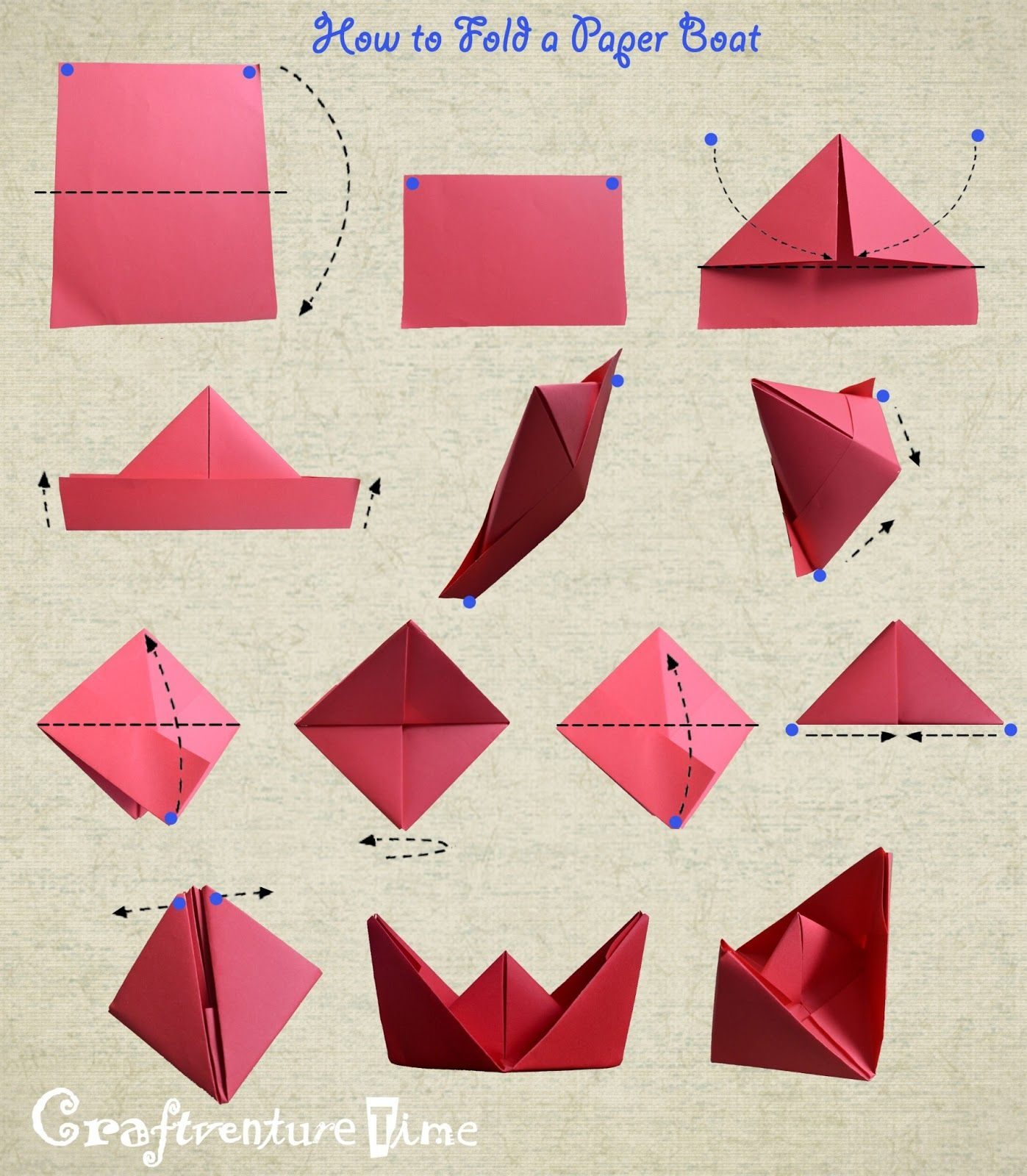 how to fold a paper boat   חטיבת חומרים   Pinterest