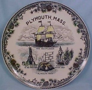 Plymouth,Mass. Souvenir Plate, Black Transferware