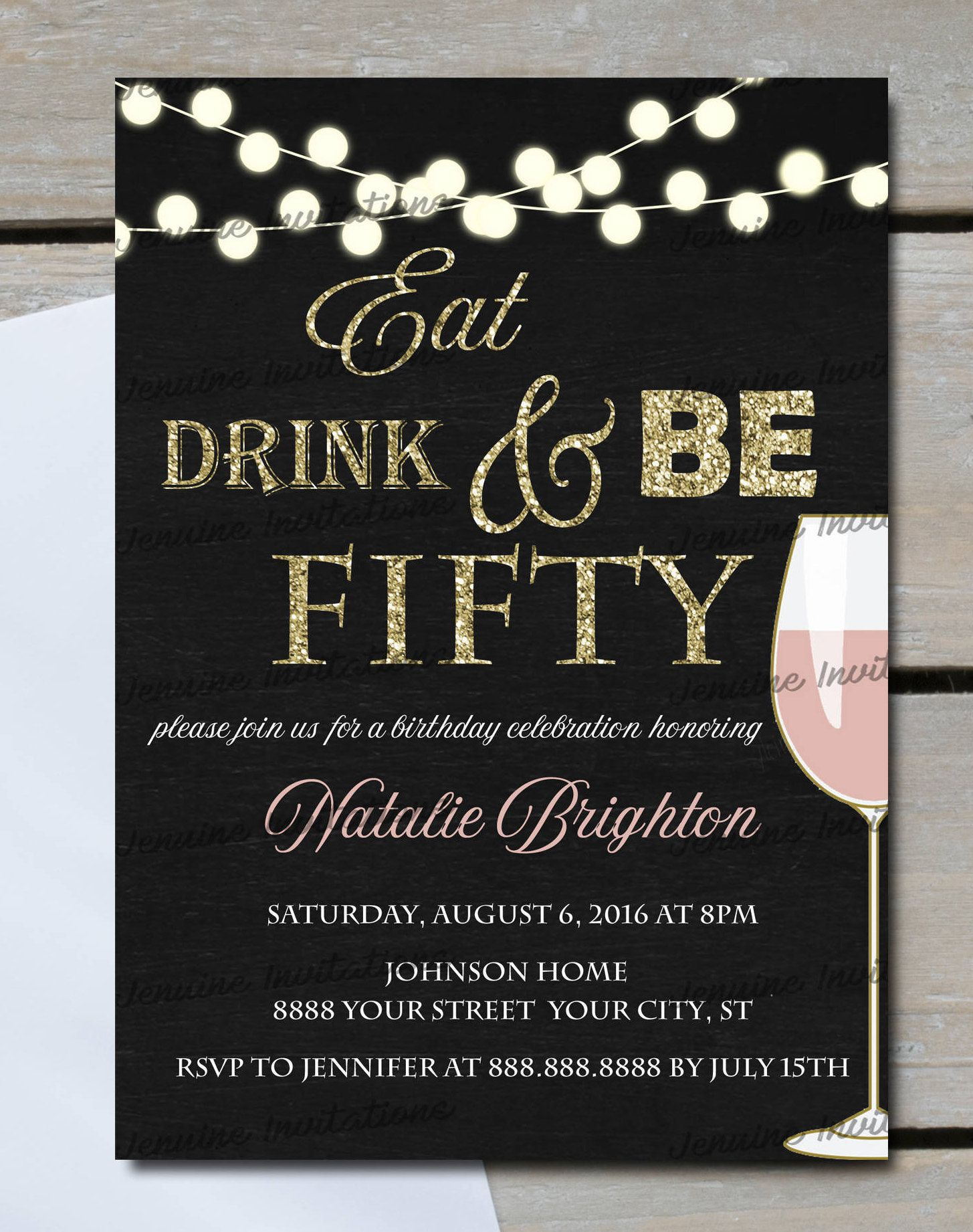 Eat Drink and Be Fifty Birthday Invitations,Any Age, 60th Birthday ...