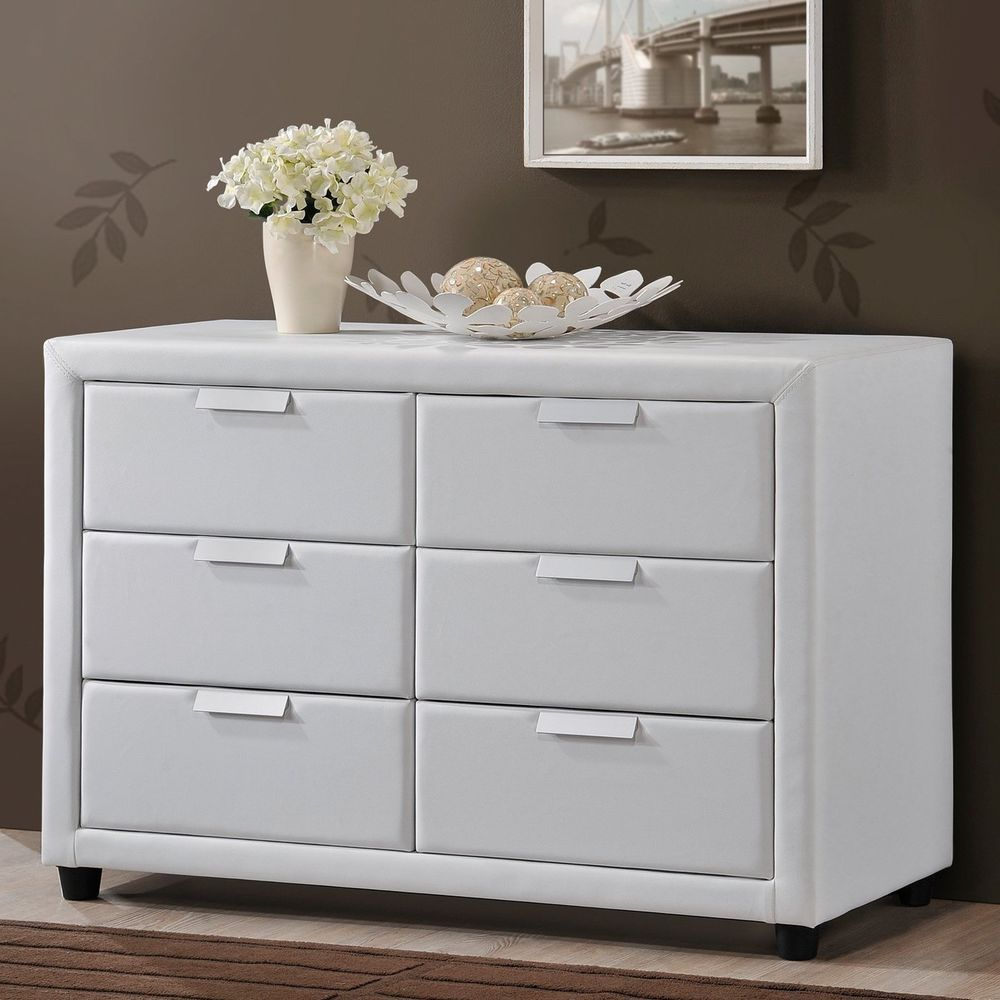 bedroom storage dresser white modern chest leather 6 drawer