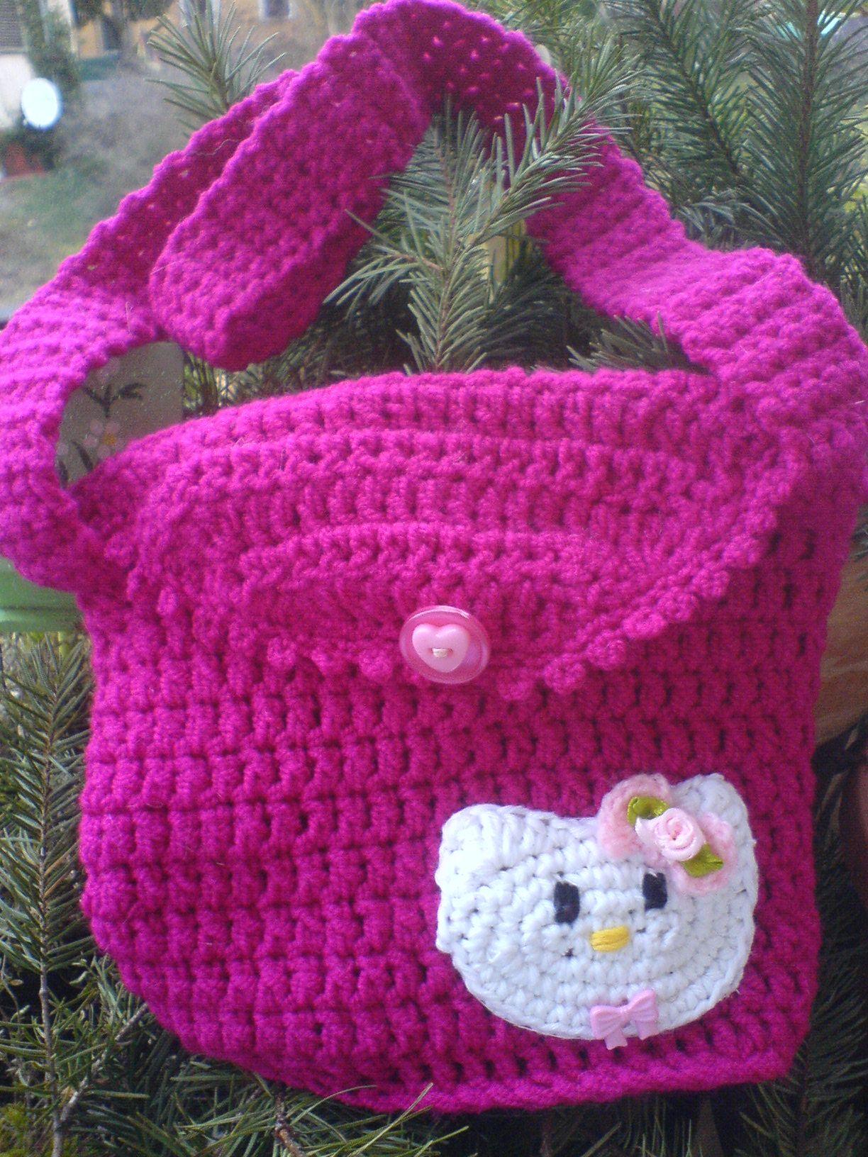 Hello Kitty Mädchentasche Gehäkelt Handmade Gebastelte