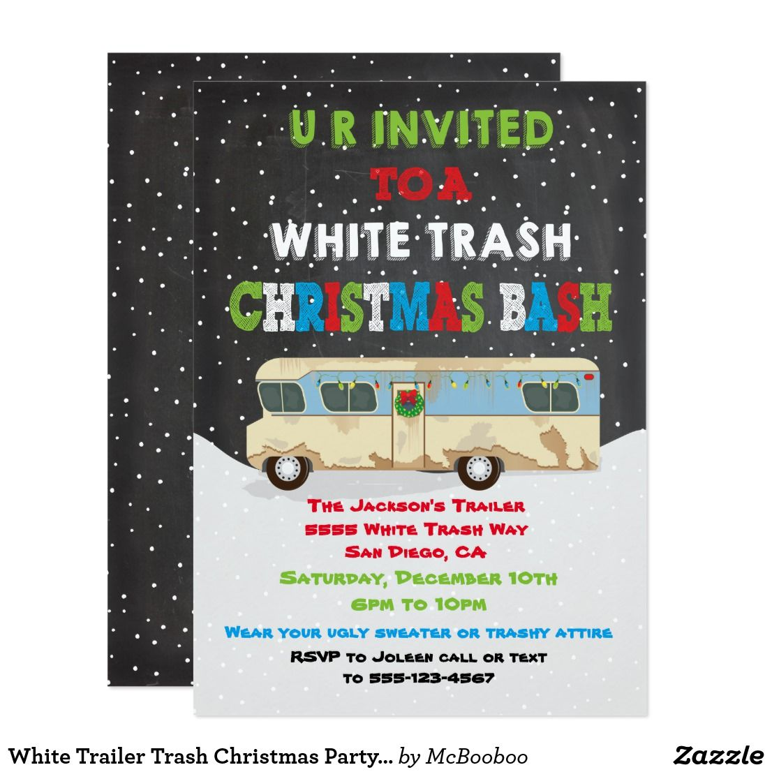 White Trailer Trash Christmas Party Bash Invitation in 2018 ...