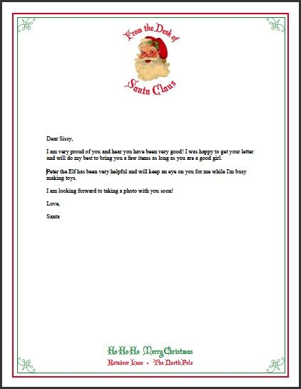 Letter From Santa クリスマス サンタからの手紙クリスマスサンタ