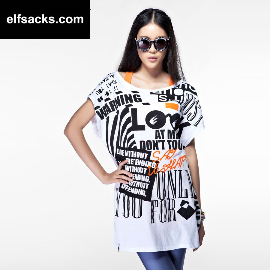 Womens Loose Two-piece letter pattern Round Collar Short Sleeve Black Tshirt