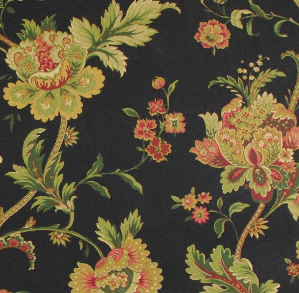 Waverly Fabric Claremont Onyx Black Background Floral Print