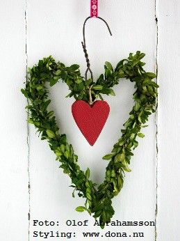 how sweet is this handmade Valentine wreath? love the use of live clippings fastened to a wire coat hanger.