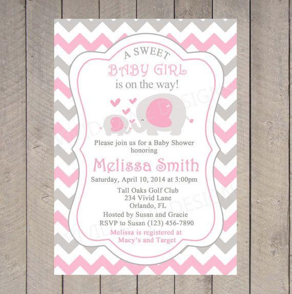 Gianna S Pink And Gray Elephant Nursery Reveal: Elephants Baby Shower Invitation, Printable, Girl Baby