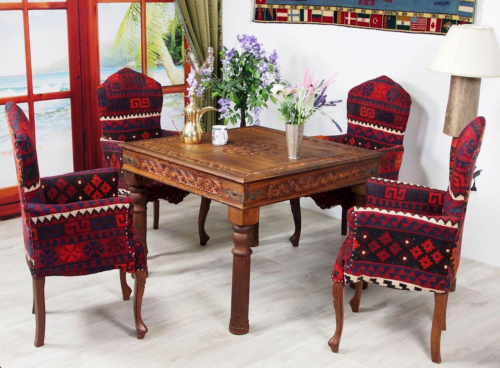 Blickfang Esstisch 100x100 Das Beste Von Cm Antik-look Orient Massiv Holz Tisch Küchentisch