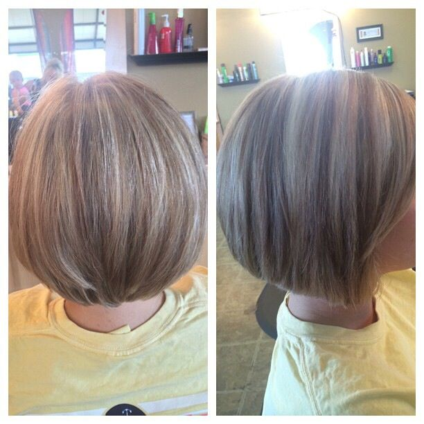 Awe Inspiring Golden And White Blonde Highlights Inverted Bob Cut Hair By Hairstyles For Women Draintrainus