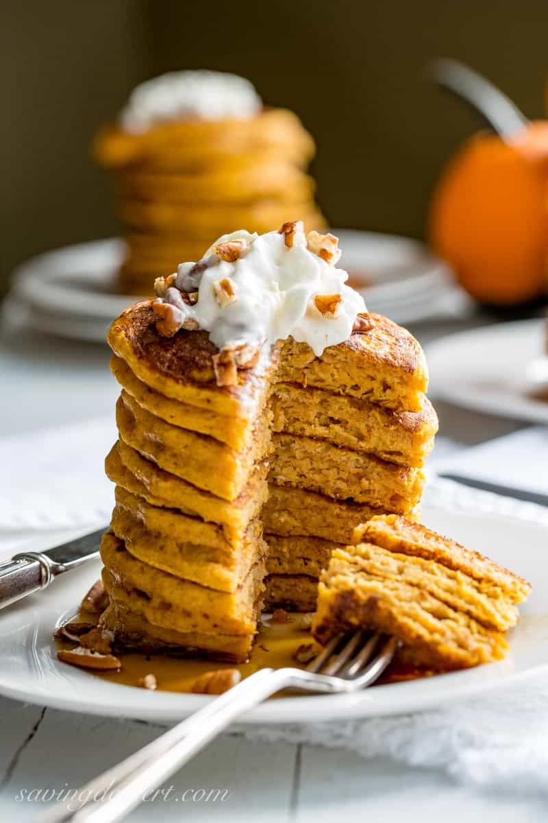 The Best Pumpkin Pancakes The Best Pumpkin Pancakes - thick, light and super fluffy, our Pumpkin Pancakes are well spiced, lightly sweet and easy to make too!