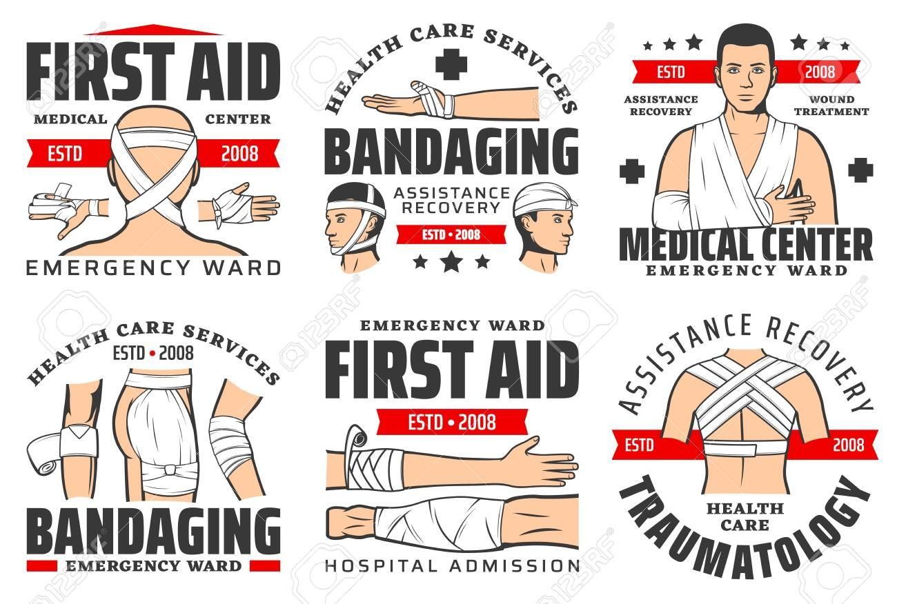 Medical emergency and first aid center ambulance icons