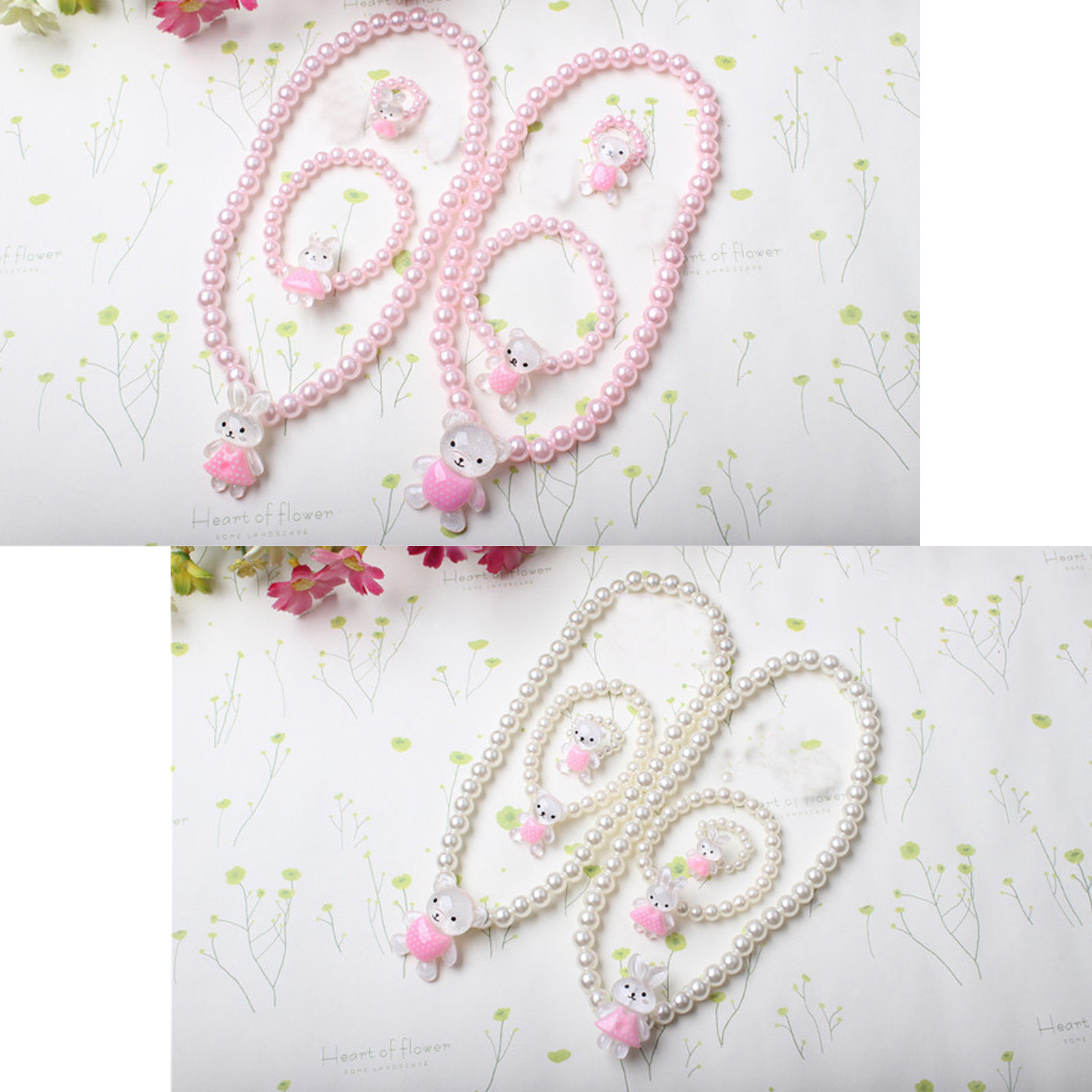 Cute baby kids girls princess beads necklaceubraceleturing set