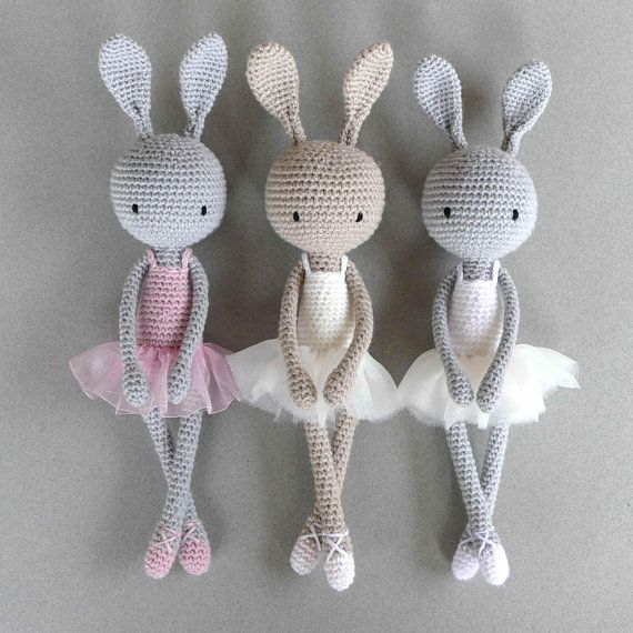 Bunny ballerina crochet blanket dancer with tutu crochet handmade amigurumi ballerina Bunny, Bunny, grey and white