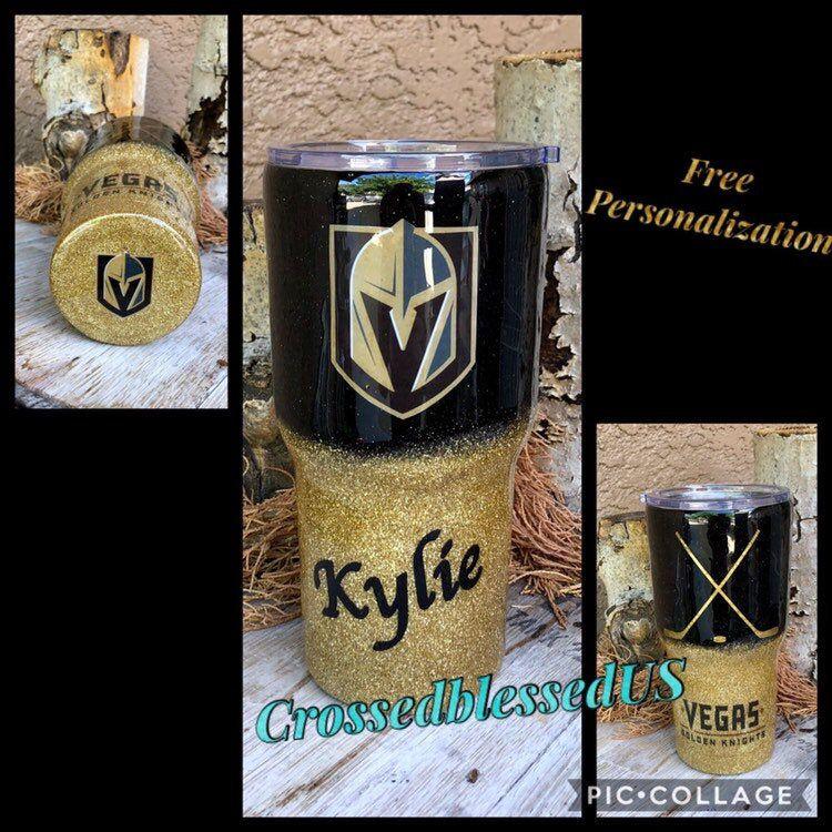 Vegas Golden Knights inspired Glitter Stainless Steel Custom Tumbler