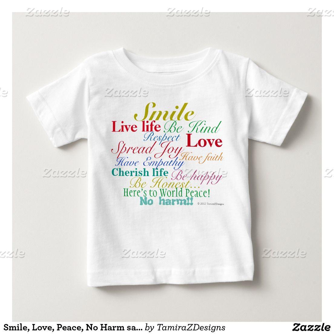 Zazzle t shirt design size - Smile Love Peace No Harm Sayings Tee Shirts Colorful Positive Shirt Design